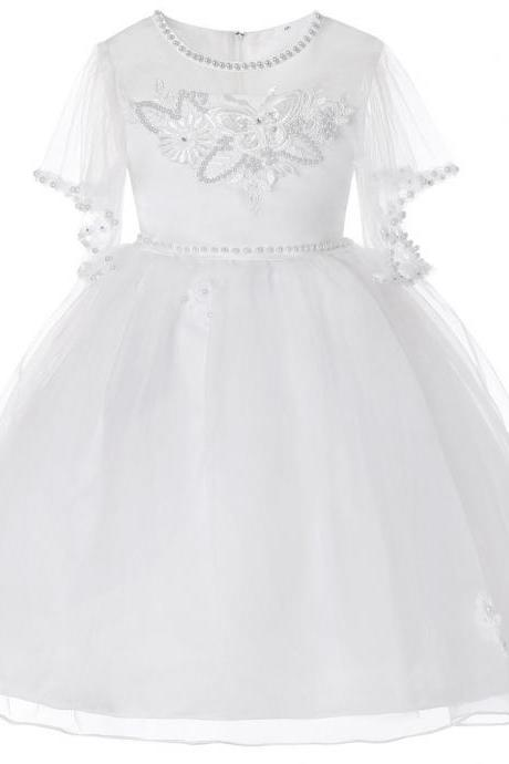 Princess Flower Girl Dress Short Sleeve Formal Prom Party Tutu Gown Children Kids Clothes off white