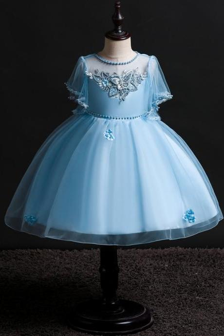 Princess Flower Girl Dress Short Sleeve Formal Prom Party Tutu Gown Children Kids Clothes light blue