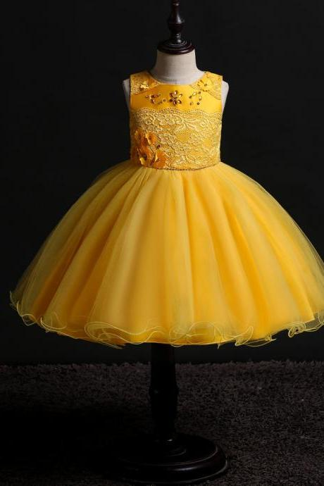 Princess Flower Girl Dress Sleeveless Lace Formal Birthday Party Tutu Gown Children Kids Clothes yellow
