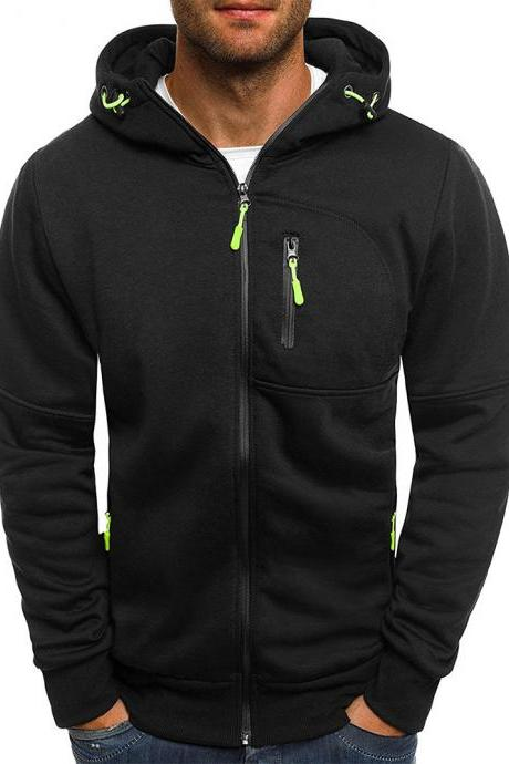 Men Hoodie Coat Spring Autumn Long Sleeve Hooded Zipper Fitness Casual Sweatshirt Jacket black