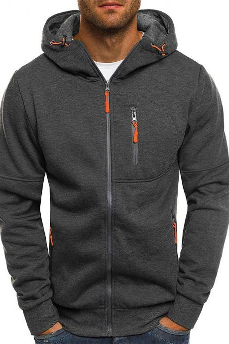 Men Hoodie Coat Spring Autumn Long Sleeve Hooded Zipper Fitness Casual Sweatshirt Jacket dark gray
