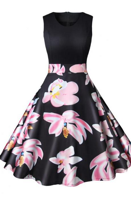 Women Floral Printed Dress Summer Casual Patchwork Sleeveless Rockbility A-Line Formal Party Dress 4#