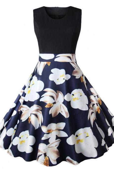 Women Floral Printed Dress Summer Casual Patchwork Sleeveless Rockbility A-Line Formal Party Dress 5#