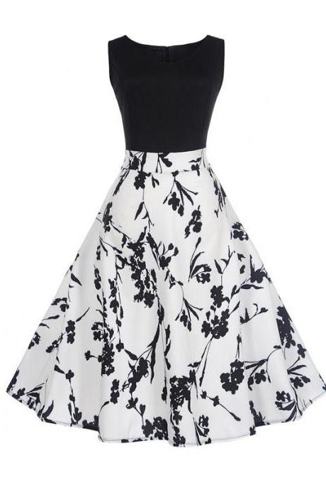 Women Floral Printed Dress Summer Casual Patchwork Sleeveless Rockbility A-Line Formal Party Dress 6#