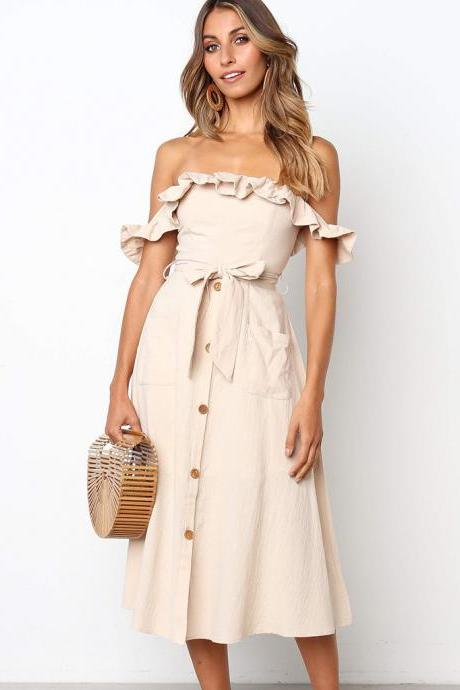 Women Casual Dress Off the Shoulder Ruffles Button Belted Midi Evening Party Dress khaki