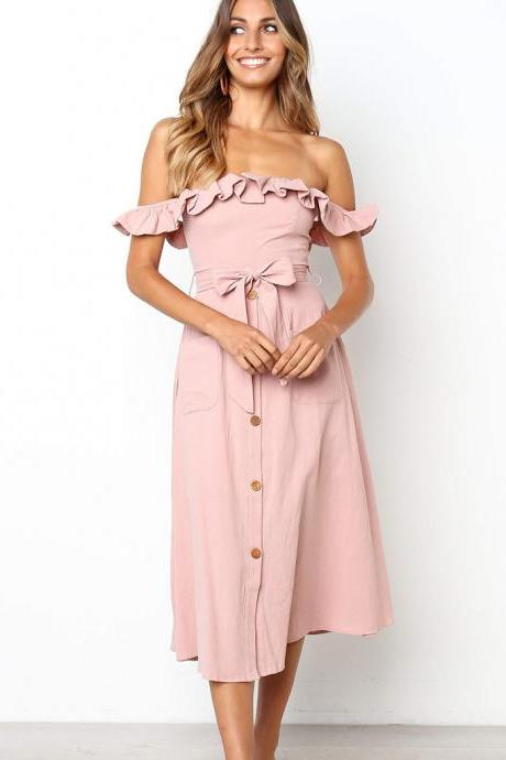 Women Casual Dress Off the Shoulder Ruffles Button Belted Midi Evening Party Dress pink