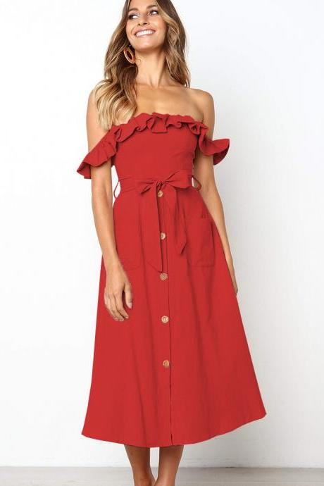 Women Casual Dress Off the Shoulder Ruffles Button Belted Midi Evening Party Dress red