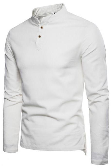 Men Shirt Spring Autumn Long Sleeve Stand Collar Casual Youth Plus Size Slim Fit Shirt off white