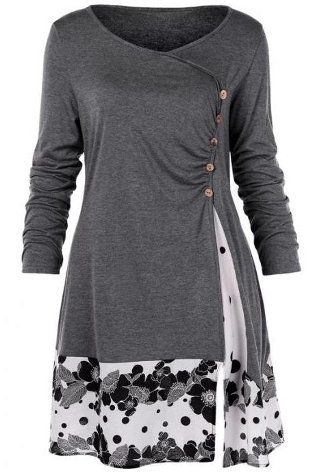 Women Long Sleeve T Shirt Spring Autumn Floral Patchwork Button Plus Size Casual Loose Tops gray