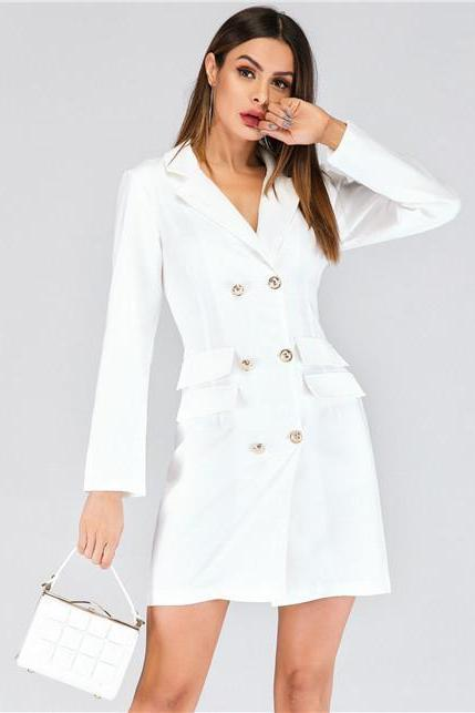 Women Blazer Dress V Neck Casual Double-Breasted Slim Formal Long Sleeves Suit Coat Dress off white