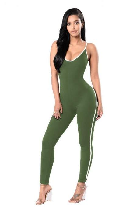 Women Jumpsuit Spaghetti Strap Sleeveless Fitness Workout Bodycon Slim Bodysuit Rompers Overalls army green