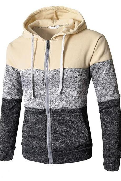 Men Hoodies Patchwork Color Long Sleeve Hooded Zipper Casual Slim Cardigan Sweatshirt beige