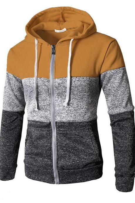 Men Hoodies Patchwork Color Long Sleeve Hooded Zipper Casual Slim Cardigan Sweatshirt camel