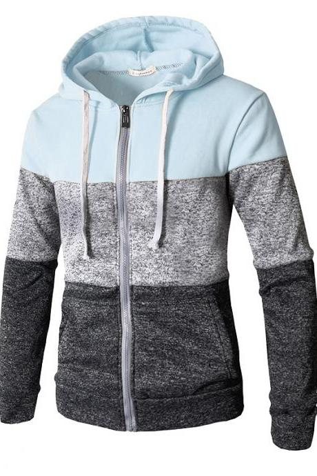 Men Hoodies Patchwork Color Long Sleeve Hooded Zipper Casual Slim Cardigan Sweatshirt light blue
