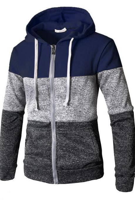 Men Hoodies Patchwork Color Long Sleeve Hooded Zipper Casual Slim Cardigan Sweatshirt navy blue