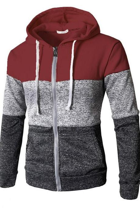 Men Hoodies Patchwork Color Long Sleeve Hooded Zipper Casual Slim Cardigan Sweatshirt wine red
