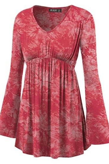 Women Floral Printed Tunic Tops Spring Autumn Flare Sleeve V-Neck Casual Plus Size T Shirt red