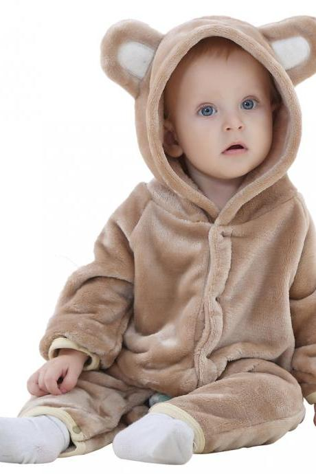 Baby Boys Girls Flannel Jumpsuit Bear Hooded Toddler Infant Romper Animal Clothes brown