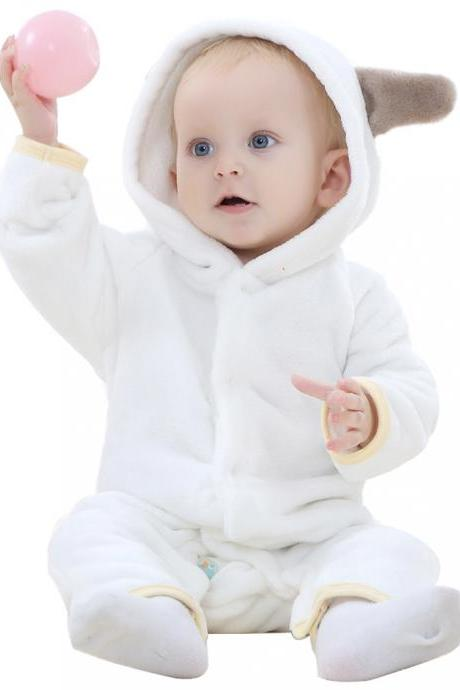 Baby Boys Girls Flannel Jumpsuit Bear Hooded Toddler Infant Romper Animal Clothes off white