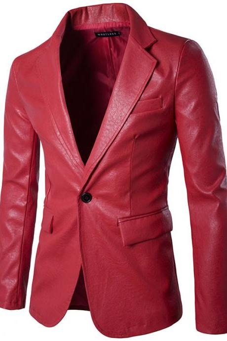 Men Blazer Jacket PU Leather Slim Fit One Button Long Sleeve Casual Business Suit Coat red