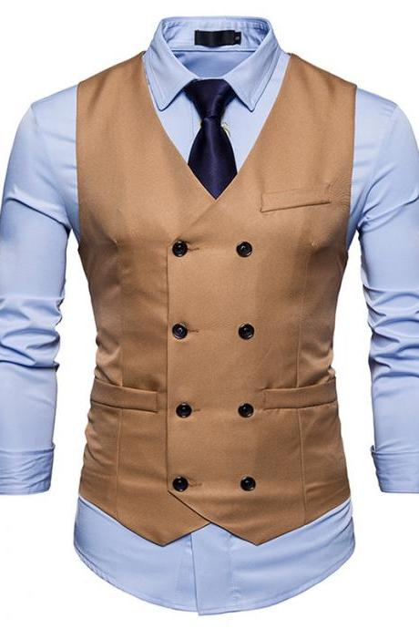 Men Suit Waistcoat Double Breasted Slim Fit Vest Wedding Business Casual Sleeveless Coat khaki