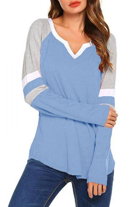 Women Long Sleeve T Shirt Spring Autumn V-Neck Striped Patchwork Casual Slim Plus Size Tops sky blue