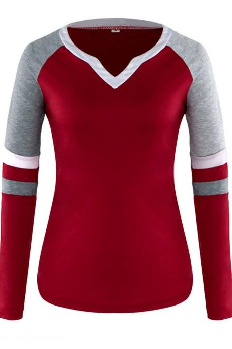 Women Long Sleeve T Shirt Spring Autumn V-Neck Striped Patchwork Casual Slim Plus Size Tops wine red