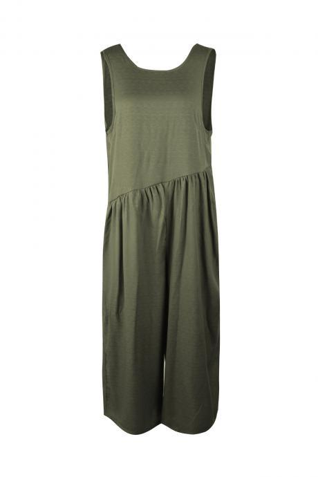 Women Jumpsuit Sexy Summer Sleeveless Backless Pocket Casual Loose Wide Leg Rompers army green