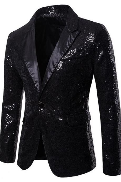 Men Sequined Blazer Coat Stage Performer Formal Host Suit Bridegroom Tuxedos Prom Wedding Groom Jacket black
