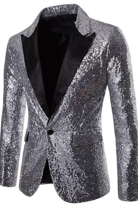 Men Sequined Blazer Coat Stage Performer Formal Host Suit Bridegroom Tuxedos Prom Wedding Groom Jacket silver