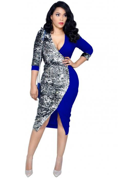 Women Pencil Dress Sequined Patchwork V Neck Long Sleeve Casual Office Bodycon Club Party Dress blue