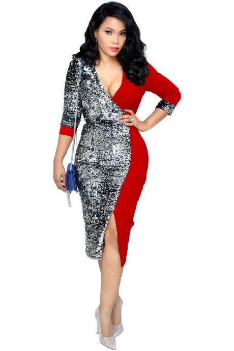 Women Pencil Dress Sequined Patchwork V Neck Long Sleeve Casual Office Bodycon Club Party Dress red