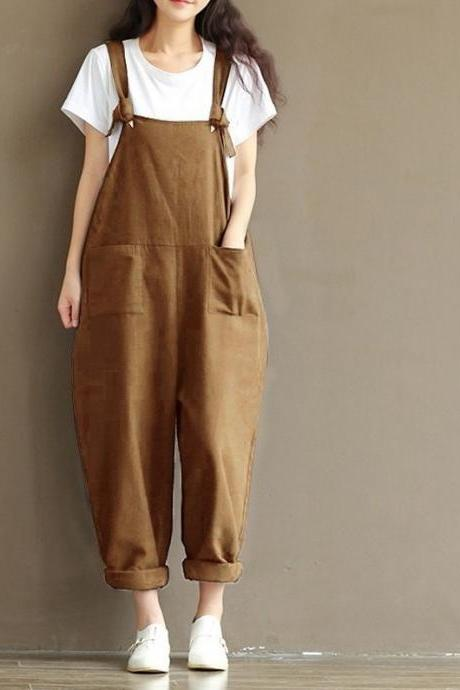 Women Suspender Pants Plus Size Casual Loose Cotton Trousers Long Overalls Rompers khaki