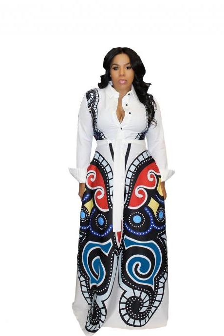 Women Maxi Dress Long Sleeve Butterfly Printed Casual Streetwear Party African Dress off white