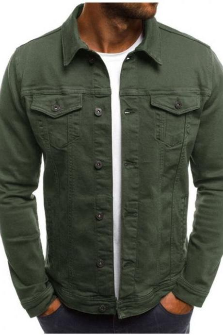 Men Jacket Spring Autumn Long Sleeve Button Pocket Causal Slim Fit Coat army green