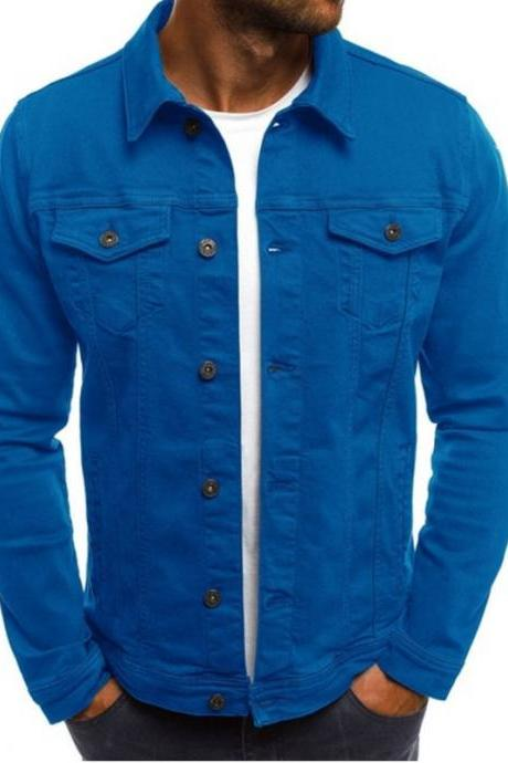 Men Jacket Spring Autumn Long Sleeve Button Pocket Causal Slim Fit Coat blue