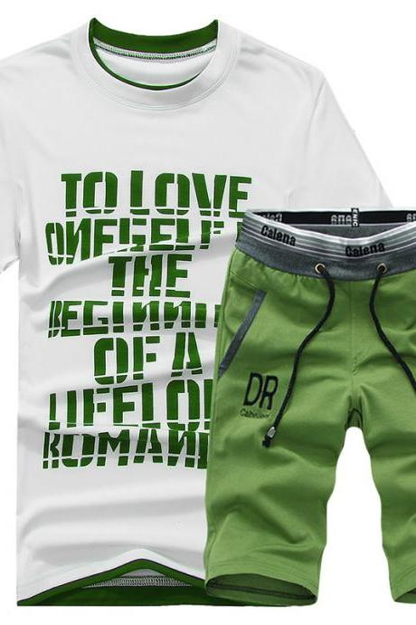 Men Tracksuit Summer Short Sleeve T Shirt+Shorts Casual Fitness Sporting Suit Two Pieces Set green
