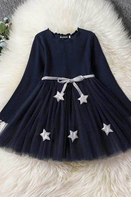 Long Sleeve Girl Dress Spring Autumn Tulle Star Pattern Princess Tutu Dress Kids Clothes navy blue