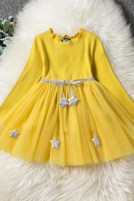 Long Sleeve Girl Dress Spring Autumn Tulle Star Pattern Princess Tutu Dress Kids Clothes yellow