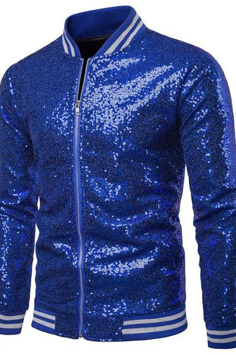 Men Sequined Jacket Glitter Long Sleeve Zipper Stand Collar Casual Nightclub Prom Stage Coat blue