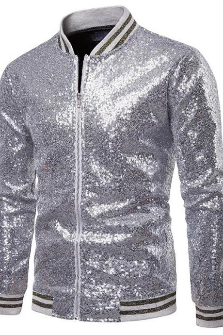 Men Sequined Jacket Glitter Long Sleeve Zipper Stand Collar Casual Nightclub Prom Stage Coat silver