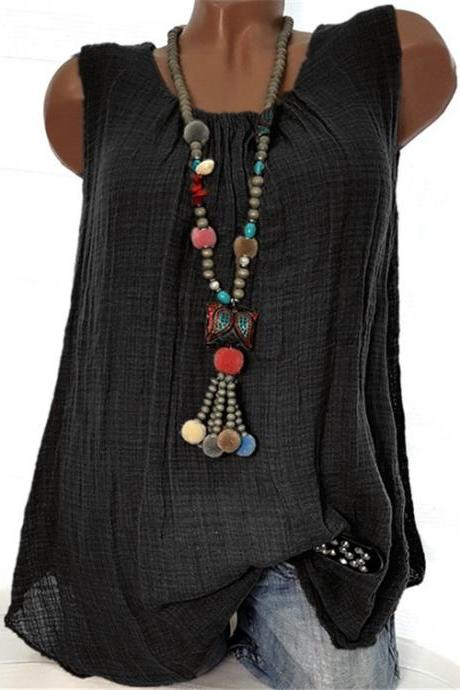 Women Sleeveless T Shirt O Neck Cotton Linen Casual Loose Plus Size Summer Vest Tops black