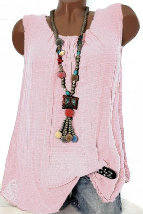 Women Sleeveless T Shirt O Neck Cotton Linen Casual Loose Plus Size Summer Vest Tops pink