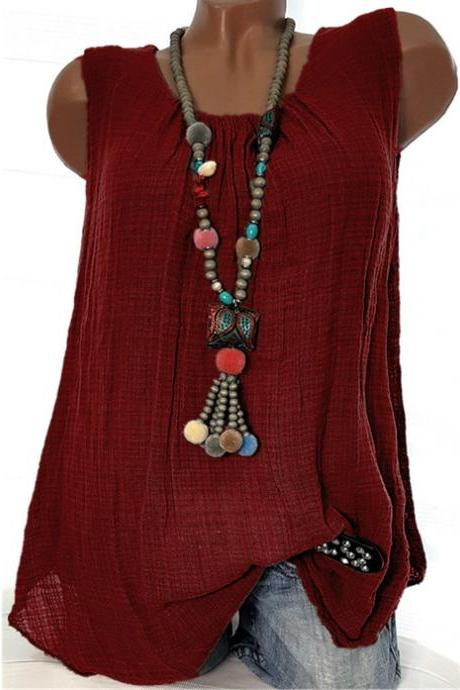 Women Sleeveless T Shirt O Neck Cotton Linen Casual Loose Plus Size Summer Vest Tops wine red