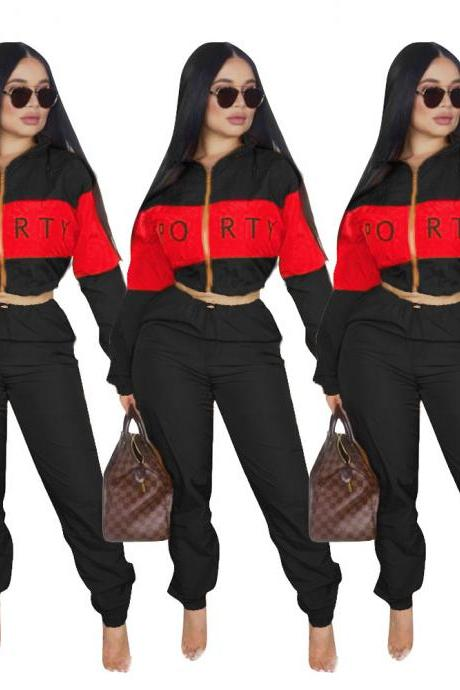 Women Tracksuit Letter Printed Patchwork Long Sleeve Top+Pants Casual Two Pieces Set Outfits black