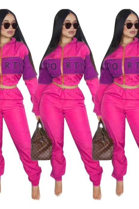 Women Tracksuit Letter Printed Patchwork Long Sleeve Top+Pants Casual Two Pieces Set Outfits hot pink