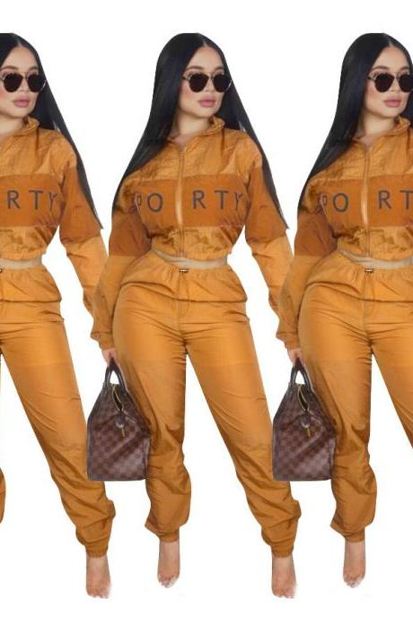 Women Tracksuit Letter Printed Patchwork Long Sleeve Top+Pants Casual Two Pieces Set Outfits orange