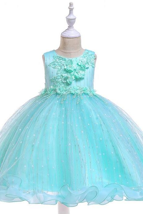 Princess Flower Girl Dress Ruffles Sleeveless Formal Birthday Party Prom Gown Children Clothes aqua