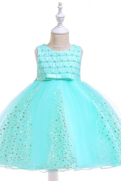 Shining Stars Flower Girl Dress Princess Wedding Party Birthday Ball Gown Children Kids Clothes aqua