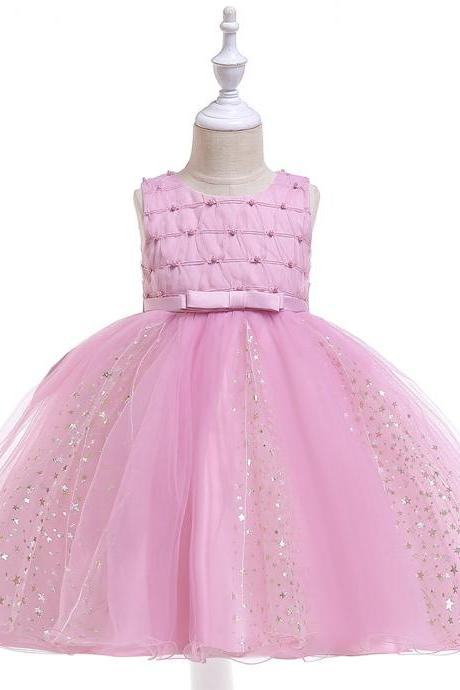 Shining Stars Flower Girl Dress Princess Wedding Party Birthday Ball Gown Children Kids Clothes blush